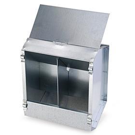 Кормушка бункерная для кроликов 2 секции металл 190 мм с металлической крышкой