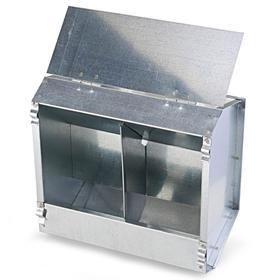 Кормушка бункерная для кроликов 2 секции металл 235 мм с металлической крышкой
