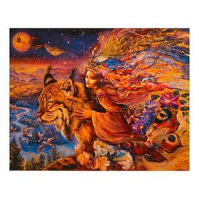 Роспись по холсту «Рысь» по номерам с красками по 3 мл+ кисти+инстр+крепеж, 30×40 см