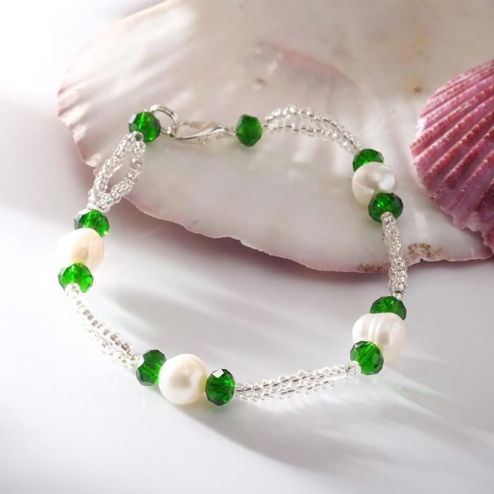 """Браслет """"Жемчуг речной"""" с бисером и хрусталём, цвет зелёный ,19,5см"""