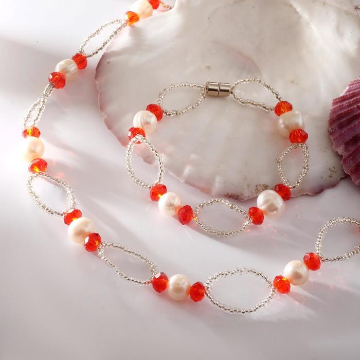 Набор 2 предмета бусы, браслет на магните Жемчуг речной с бисером и хрусталём, дуо, цвет красный