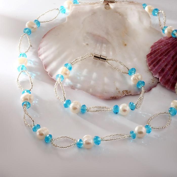 Набор 2 предмета бусы, браслет на магните Жемчуг речной с бисером и хрусталём, дуо, цвет голубой