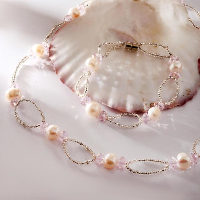 Набор 2 предмета бусы, браслет на магните Жемчуг речной с бисером и хрусталём, дуо, цвет розовый
