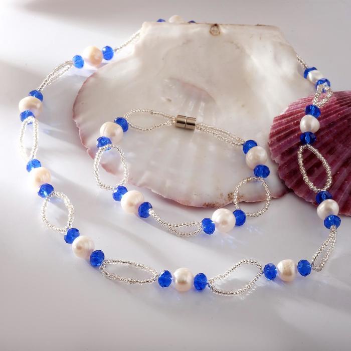 Набор 2 предмета бусы, браслет на магните Жемчуг речной с бисером и хрусталём, дуо, цвет синий