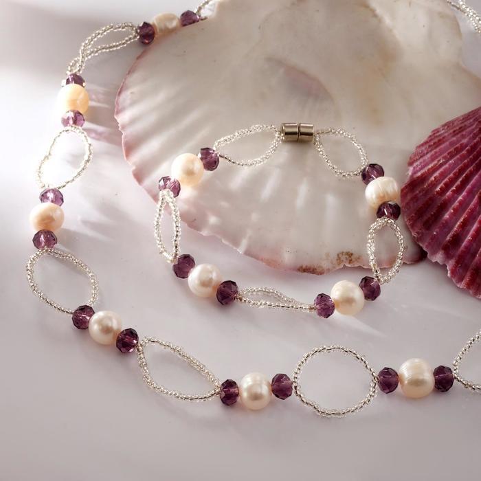 Набор 2 предмета бусы, браслет на магните Жемчуг речной с бисером и хрусталём, дуо, цвет фиолетовый