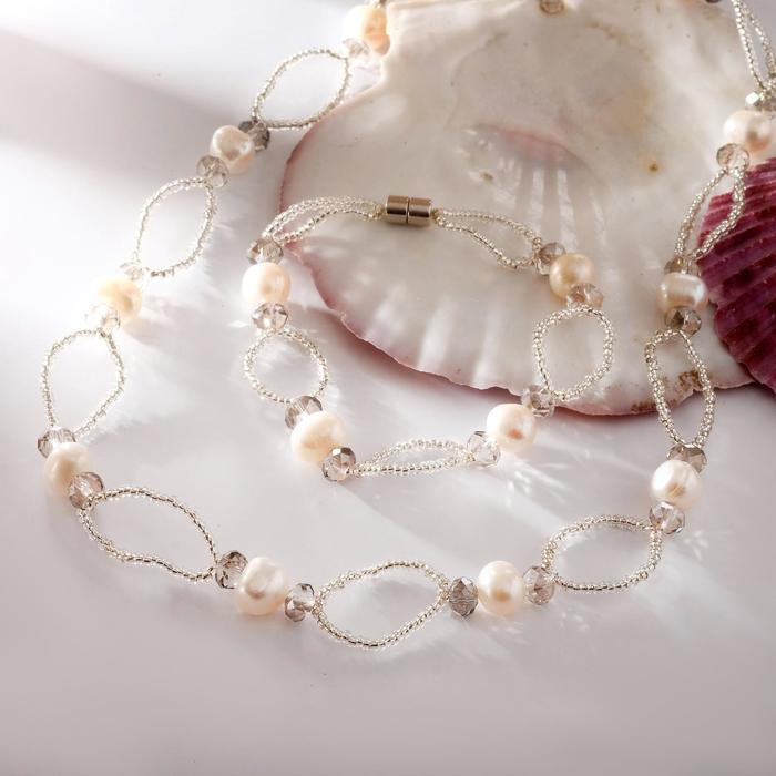 Набор 2 предмета бусы, браслет на магните Жемчуг речной с бисером и хрусталём, дуо, цвет серый