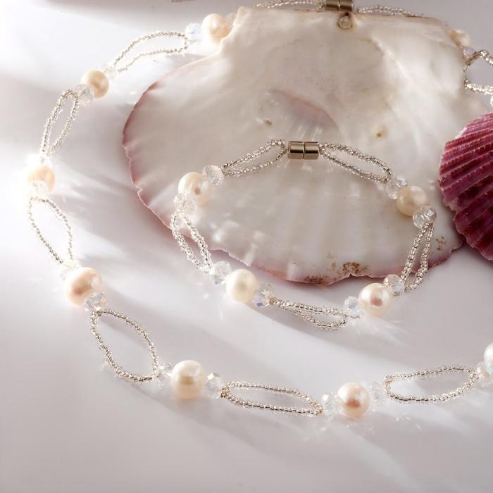 Набор 2 предмета бусы, браслет на магните Жемчуг речной с бисером и хрусталём, дуо, цвет белый