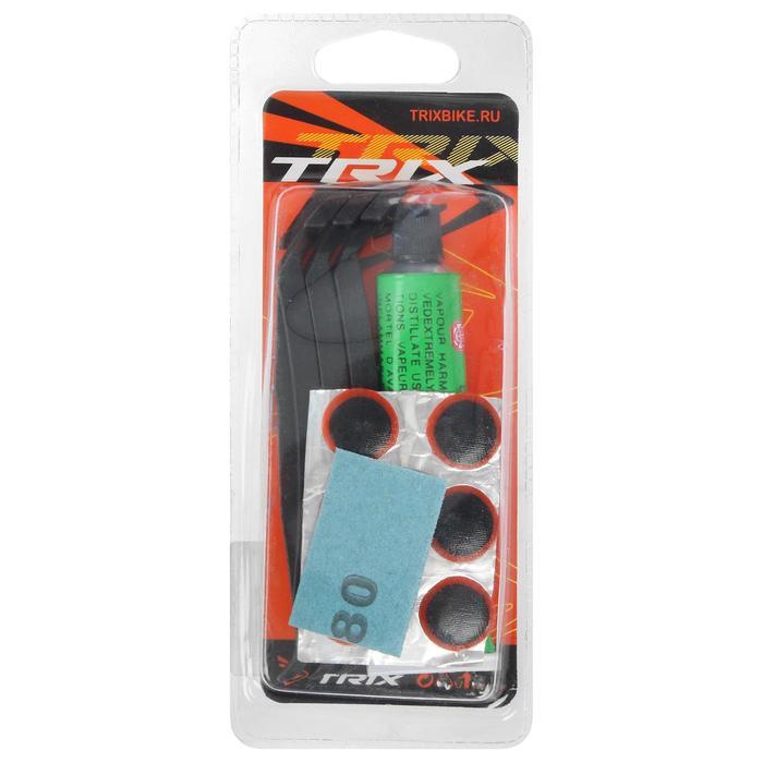 Аптечка для ремонта вело камер TRIX, клей, заплатки, наждачка