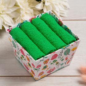 """Набор махровых салфеток """"Цветочный сад"""" 30х30 см -4 шт, 100% хл, 340гр/м2"""