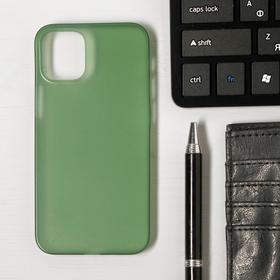Чехол LuazON для телефона iPhone 12 mini, пластиковый, тонкий, прозрачный зеленый