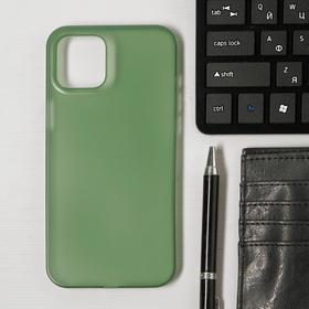 Чехол LuazON для телефона iPhone 12 Pro Max, пластиковый, тонкий, прозрачный зеленый