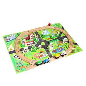 Деревянная игрушка «Железная дорога», 36 деталей, 37 × 19 × 5.5 см