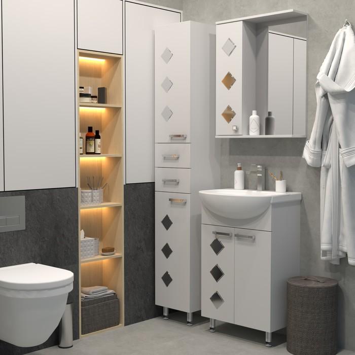 Набор мебели Квадро 55 тумба с раковиной  шкаф-зеркало   4732149