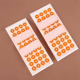 Иппликатор - коврик для ног, мягкий, 14 × 32 см, на липучках, пара, цвет белый/оранжевый