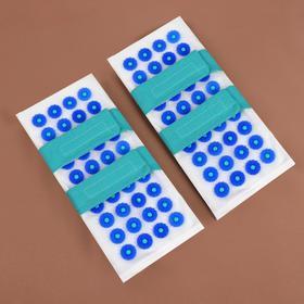 Иппликатор - коврик для ног, мягкий, 14 × 32 см, на липучках, пара, цвет белый/синий