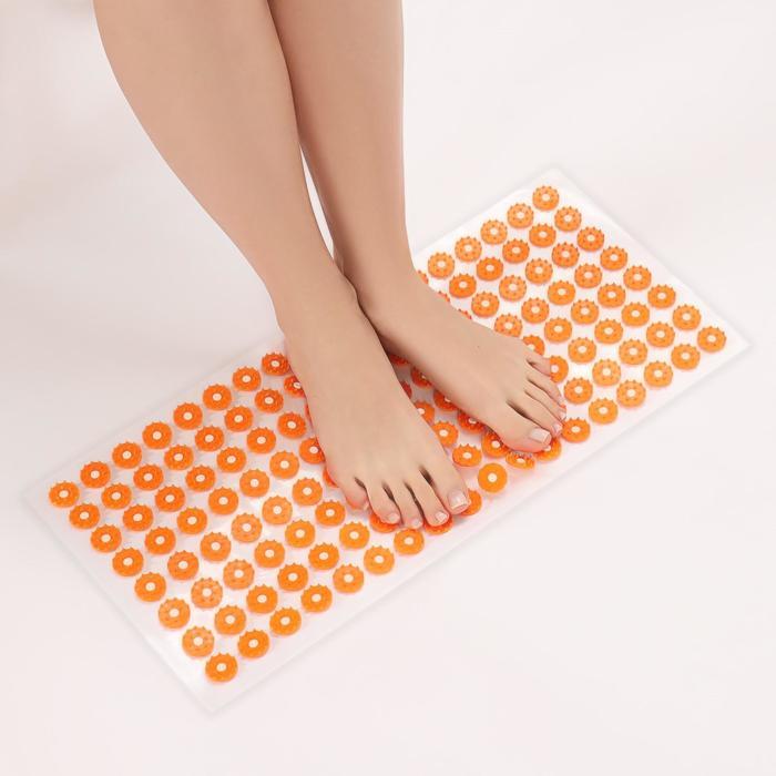 Аппликатор - коврик, 26 × 56 см, 144 модуля, цвет оранжевый/белый