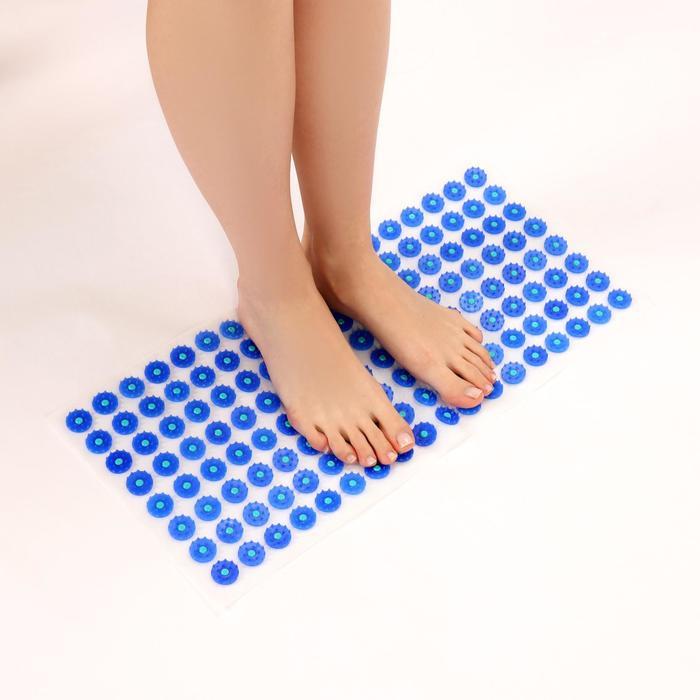 Аппликатор - коврик, 26 × 56 см, 144 модуля, цвет синий/белый