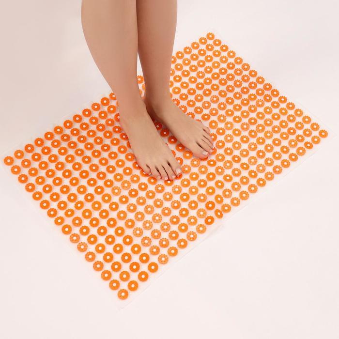 Аппликатор - коврик, 50 × 75 см, 384 модуля, цвет оранжевый/белый