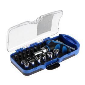 Отвертка с набором бит и торцевых головок TUNDRA, в пластиковом кейсе, 25 предметов Ош