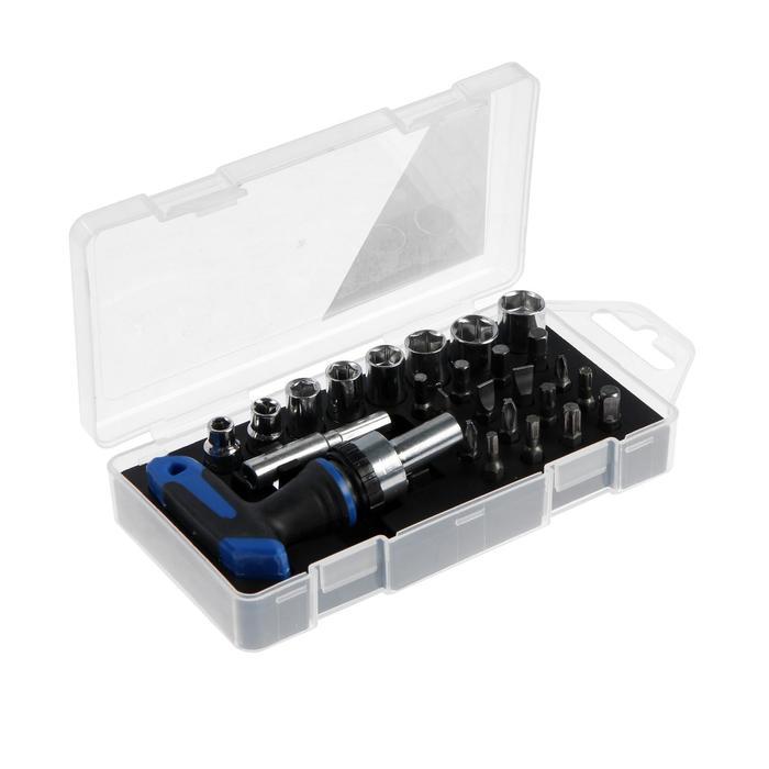 Отвертка с набором бит и торцевых головок TUNDRA, в пластиковом кейсе, 26 предметов