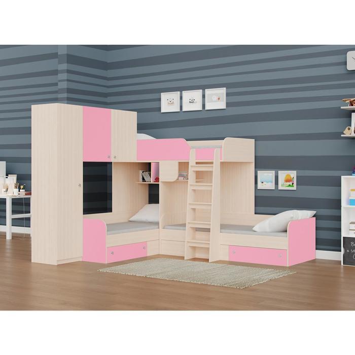 Детский комплекс «Трио/1», цвет дуб молочный / розовый