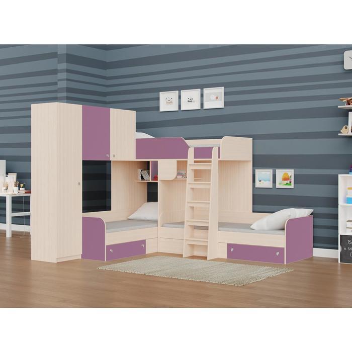 Детский комплекс «Трио/1», цвет дуб молочный / фиолетовый