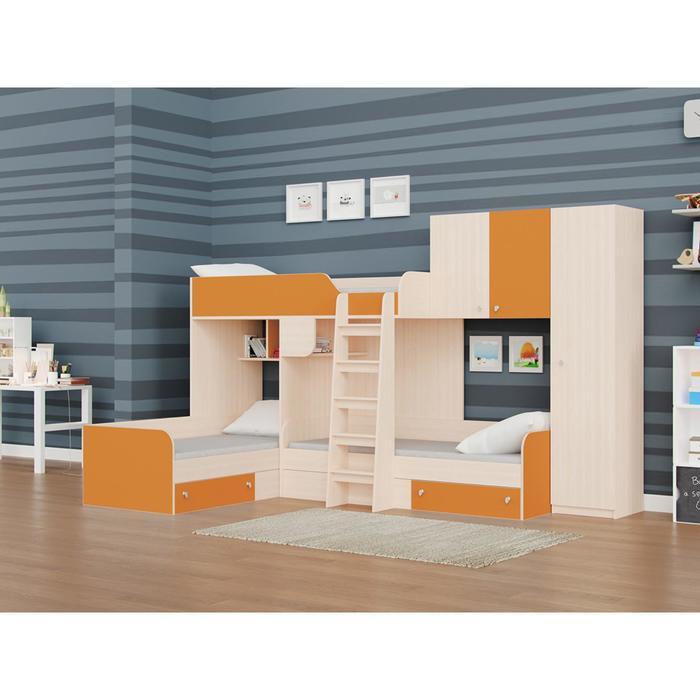 Детский комплекс «Трио/2», цвет дуб молочный / оранжевый