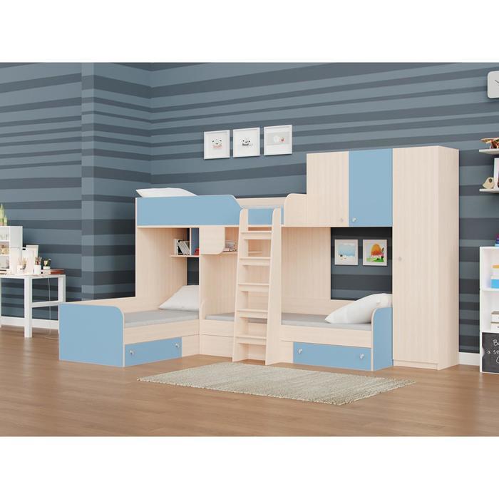 Детский комплекс «Трио/2», цвет дуб молочный / голубой