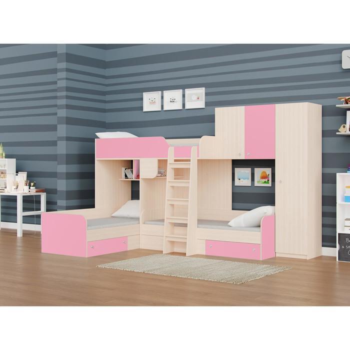 Детский комплекс «Трио/2», цвет дуб молочный / розовый
