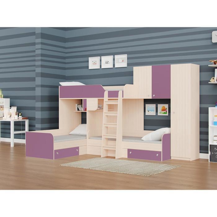 Детский комплекс «Трио/2», цвет дуб молочный / фиолетовый