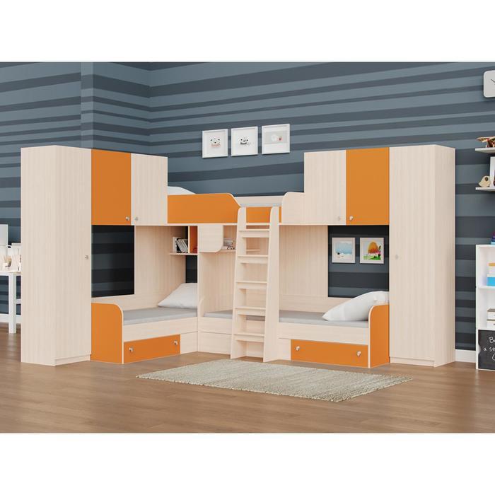 Детский комплекс «Трио/3», цвет дуб молочный / оранжевый