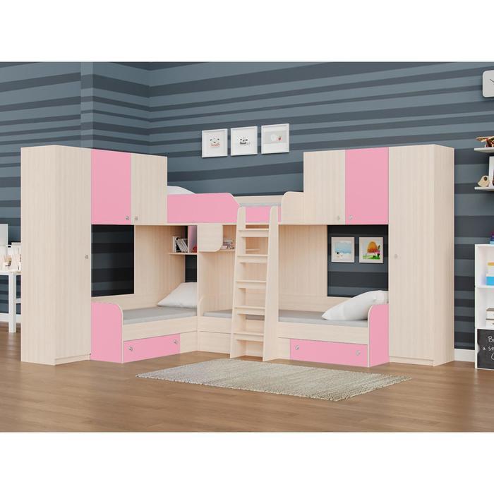 Детский комплекс «Трио/3», цвет дуб молочный / розовый