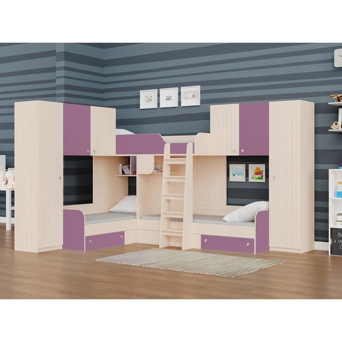 Детский комплекс «Трио/3», цвет дуб молочный / фиолетовый