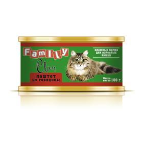 Консервы CLAN FAMILY для кошек, паштет из говядины, 100 г