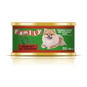 Консервы CLAN FAMILY для собак, паштет из говядины, 100 г