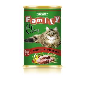 Консервы CLAN FAMILY для кошек, паштет из говядины, 415 г