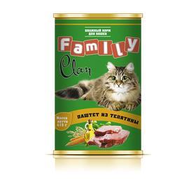 Консервы CLAN FAMILY для кошек, паштет из телятины, 415 г