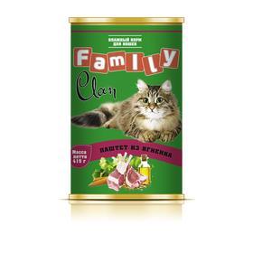 Консервы CLAN FAMILY для кошек, паштет из ягненка, 415 г