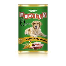 Консервы CLAN FAMILY для собак, паштет из телятины, 415 г