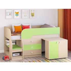 Детская кровать-чердак «Астра 9 V7», выдвижной стол, цвет дуб молочный/салатовый Ош