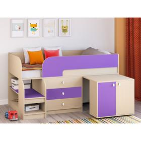Детская кровать-чердак «Астра 9 V7», выдвижной стол, цвет дуб молочный/фиолетовый Ош
