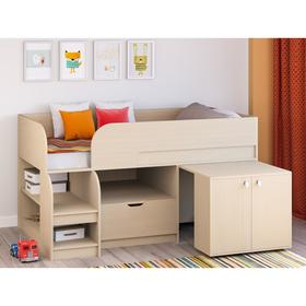 Детская кровать-чердак «Астра 9 V9», выдвижной стол, цвет дуб молочный/дуб молочный Ош