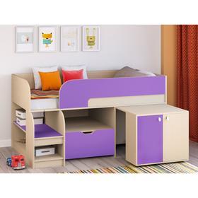 Детская кровать-чердак «Астра 9 V9», выдвижной стол, цвет дуб молочный/фиолетовый Ош
