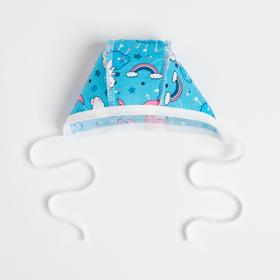 Чепчик детский, цвет голубой/мишки, рост 56 см