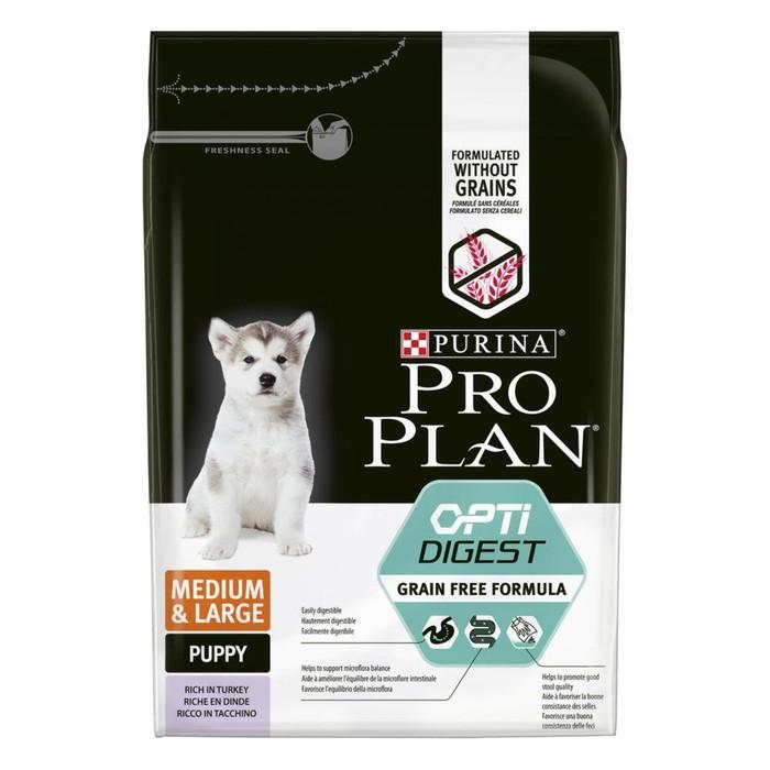Беззерновой корм PRO PLAN для собак и щенков с чувствительным пищеварением, индейка 2.5 кг