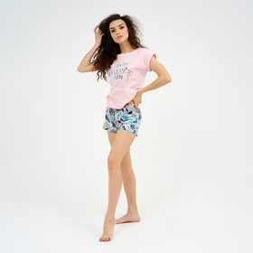 Костюм женский (футболка, шорты) цвет розовый, размер 42