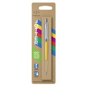 Ручка шариковая Parker Jotter Color М, корпус пластиковый, жёлтый, синие чернила, блистер (2076056)