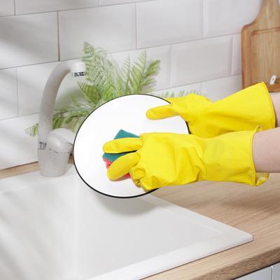 Перчатки A.D.M. резиновые с внутренним х/б напылением, размер XL, 40 гр, цвет жёлтый - Фото 1