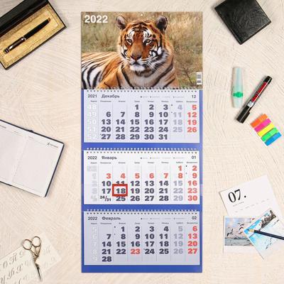 """Календарь квартальный, трио """"Символ года - 19"""" 2022 год, 31 х 69 см - Фото 1"""