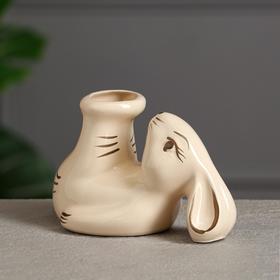 """Подсвечник """"Кролик"""", бежевый, керамика, 10 см"""